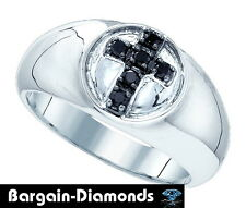 mens black diamond cross hip hop ice out ring .23 carats bling 925 man pinkie