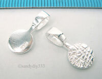 2x STERLING SILVER BRIGHT GLUE ON DROP PENDANT BAIL (#517)