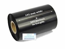 6 x 102mm x 360 Metre, Black, Wax Thermal transfer Ribbon, Zebra Compatible.