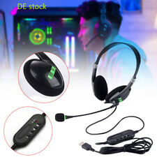 1PC USB Headset PC Kopfhörer Computer Laptop Business Headphone mit Mikrofon DE