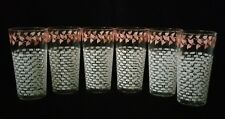 (6) Federal White Lattice Basket-weave W/ Pink Ivy Tumbler Hostess Glasses