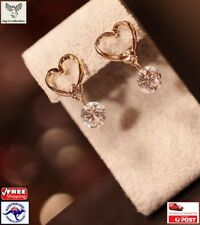 New Fashion Beautiful Gold Plated CZ Love Heart Dangle Earring Women [A2P2~B23]