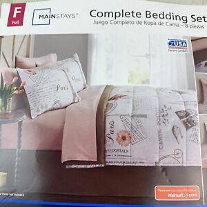 8 Pc Comforter Paris Pink Sheets Bedding Bedspread Shams Full Bedskirt Fitted