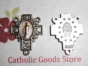 Flower Cross Miraculous Oxidized Silver Tone Rosary Centerpiece