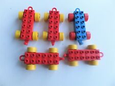 Lot of 5 LEGO DUPLO Replacement Red Blue  Train Cars