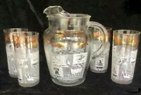 Anchor Hocking Glass 1960s Colonial Days Set Pitcher & 4 Glasses