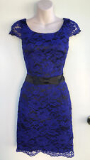 REVIEW Vibrant Blue Lace Fitted Pencil Formal Dress Black Waistband & Bow sz 6