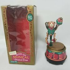 Mr Christmas Wind Up Music Box Circus Tin Toys Bear 1995 APX 7""