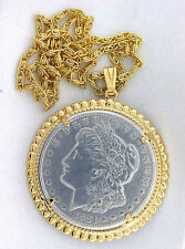 "1921 REAL MORGAN SILVER DOLLAR GOLDPLATED PENDANT WITH GP ROPE 18"" CHAIN ES7306A"
