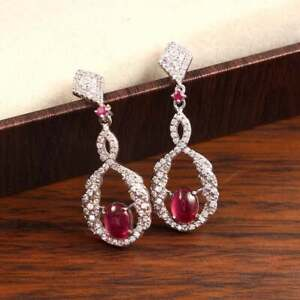 14k White Gold Over Pink Sapphire & Diamond Dangle Earrings For Women's Jewelry