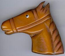 VINTAGE WOOD & CARAMEL BUTTERSCOTCH BAKELITE HORSE HEAD PIN BROOCH