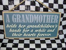 "Grandmother Holds Her Grandchildren's Hand~ 10 x 5"" Wood Sign"