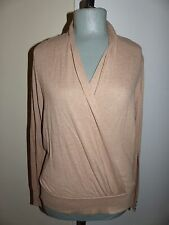WHITE HOUSE BLACK MARKET Heather Caramel Surplice Banded Sweater Top LG NWT $88