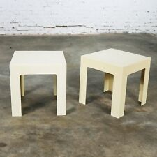 Pair Plastic Parsons Side Tables Antique White Style Kartell or Syroco Mid Centu