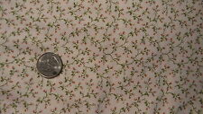 """Vintage Cotton Fabric TINY FLORAL HEART VINES ON WHITE Classics 1.5 Yd/44"""" Wide"""