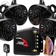 "5"" 1000W Amp Bluetooth ATV UTV RZR Polaris Stereo Marine 4 Speaker Audio System"