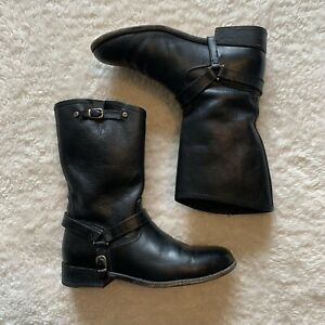 Ariat Mid Calf Leather Buckle Harness Moto Pull On Womens Boots Size 7.5