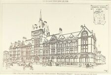 OLD ANTIQUE PRINT ARCHITECTURE LONDON HOLBORN BARS  1899 PRUDENTIAL BUILDING