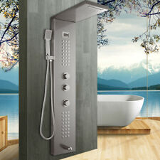 Digital Display Rain Shower Panel Column Massage Jet Hand Shower Faucet Unit Set