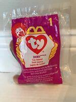 Ty Teenie Beanie Baby DOBY The DOBERMAN #1 McDonald's Happy Meal Toy 1998 Sealed