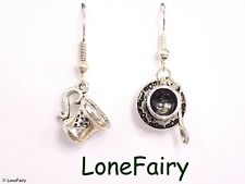 Silver Plated Alice in Wonderland Mad Hatters Tea Party Earrings Cup Teapot