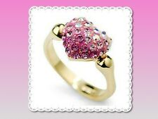 Gorgeous 18KGP Pink Crystal Heart Ring - US 8 or Aust P 1/2