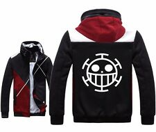 Anime One Piece Trafalgar D Water Law Cosplay Hoodies Fleece Zipper Black Jacket