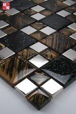 mosaico in vetro acciaio inox PIASTRELLE GALAXY marrone nero effetto glitter