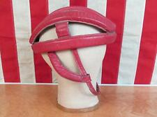 Vintage Red Leather Cycling Bicycle Racing Tour Helmet Antique Velodrome Track