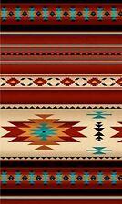 Southwest Terracotta, Teal Blanket Stripe, Navaho Design, Tucson REMNANT (17 in)