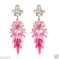 New Woman Statement clear crystal Rhinestone long Ear Studs hoop earrings 993