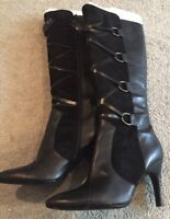 Via Spiga Lyon Black Leather Boots 8.5 Great Look @@