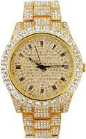 Fully Iced Watch Bling Rapper Simulate Lab Diamond Gold Metal Band Luxury Dial