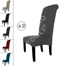 2 New Linen Fabric Dining Chairs Roll Top Scroll High Back Cushioned Seat