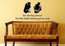 Wall Decal Sticker Alice In Wonderland Inspired How Long Is Forever White Rabbit