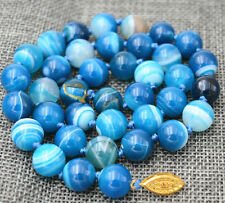 10MM ANTIQUE ART DECO GENUINE RARE BLUE CHALCEDONY AGATE BEADS NECKLACE