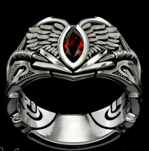 NEW AU Vintage Stainless steel fallen angels Red Diamond Men's Craft wings Ring