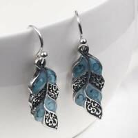 Vintage 925 Silver Moonstone Turquoise Opal Ear Hook Stud Dangle Drop Earrings