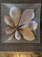 Mid Century Georges Briard Glass Square Plate Gold Vintage Leaf Design