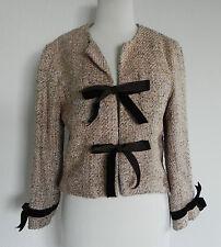Ruth Tweed Jacket Size 4 Silk  Short Style Multicolored Tweed   Velvet Ties Trim