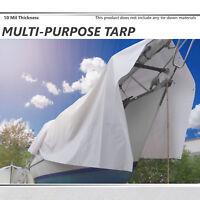 White Tarp Multi Purpose 10 Mil Poly Waterproof Car Boat Camping Tent Shelter