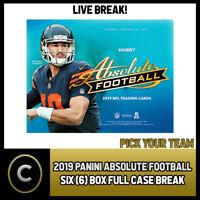 2019 PANINI ABSOLUTE FOOTBALL 6 BOX (FULL CASE) BREAK #F269 - PICK YOUR TEAM