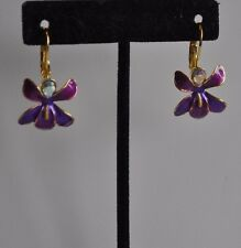 Lever Back Earrings In Gold Tone Kirks Folly African Queen Orchid Purple