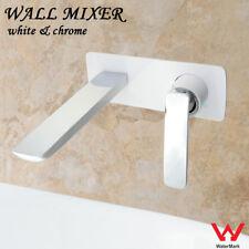 Wall Mount Basin Mixer WHITE CHROME Quality Bathroom Faucet Tap Bath Spout