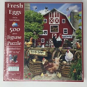"SunsOut ""Fresh Eggs"" 500 Piece Jigsaw Puzzle Art By Lori Schory 18"" x 24"" New"