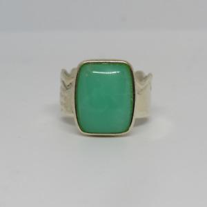Jay King DTR Sterling Silver 925 Green Jade? Cabochon Ring Scalloped Band - Sz 7