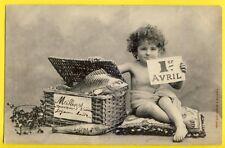 Splendide cpa BERGERET Cachet PARIS en 1904  1er AVRIL Enfant Malle Poissons