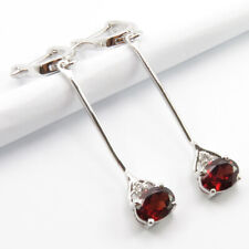 925 Stamped Sterling Silver Natural GARNET & CZ 5.3 cm Exclusive Dangle EARRINGS