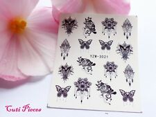 Nail Art Black Rose Lace Drop Necklace Butterfly Water Transfer Decal Sticker 21