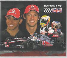 Guernsey 2011 Mnh Fdc británico F1 Campeones Del Mundo Recuerdo carpeta Hamilton botón